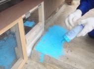 チョークの粉を撒き、足跡で出たかを見ます