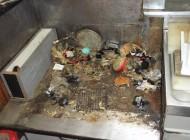 ガスコンロの下に出来ていたクマネズミの巣